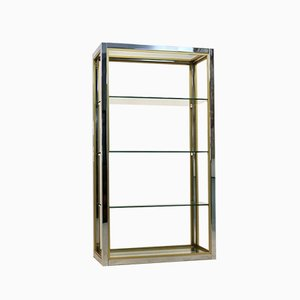 Brass, Chrome and Glass Free Standing Shelving Unit by Renato Zevi