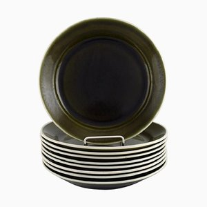 Plates in Glazed Stoneware by Karin Björquist for Gustavsberg, Set of 9