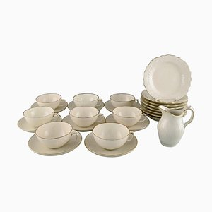 Creme Curved Tea Service Set from Royal Copenhagen, Mid-20th Century, Set of 25