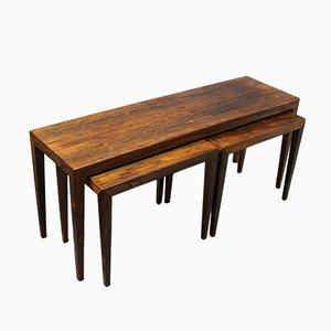 Tavolini a incastro in palissandro di Severin Hansen per Haslev, anni '60, set di 3