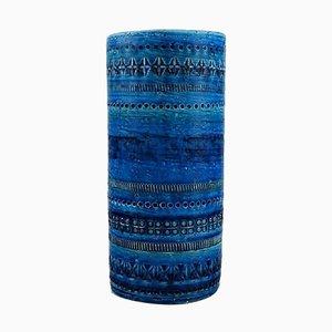 Cylindrical Vase in Rimini-Blue Glazed Ceramics by Aldo Londi for Bitossi