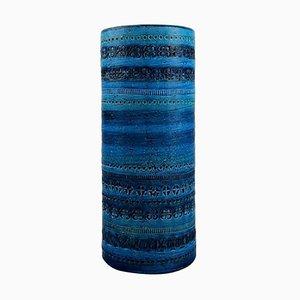 Large Cylindrical Vase in Rimini-Blue Glazed Ceramics by Aldo Londi for Bitossi