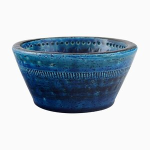 Bowl in Rimini-Blue Glazed Ceramics by Aldo Londi for Bitossi, 1960s