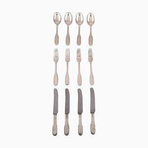 Number 14 Dinner Service Set in Hammered Silver by Evald Nielsen, Set of 12
