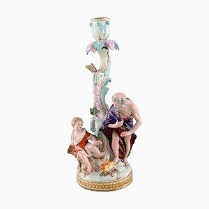 Antiker Winter Kerzenständer aus handbemaltem Porzellan von Meissen, 19. Jh