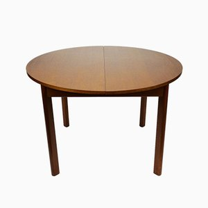 Round Extendable Wooden Dining Table, 1960s