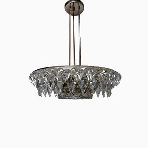 Silver Plated Icicle Cut Glass Chandelier from Kinkeldey, 1960s