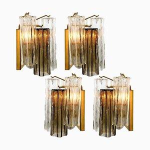 Rauchglas Wandlampe von JT Kalmar, 1960er