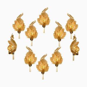 Große Wandleuchte aus goldenem Muranoglas von Barovier & Toso, Italien, 1950er