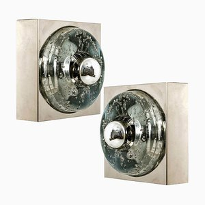 Hand Blown Wall or Ceiling Lights from Doria, 1970, Set of 2