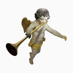 Großer geschnitzter barocker Trombone Holz Engel, 17. Jahrhundert