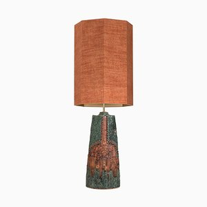 Ceramic Lamp with Silk Lampshade by Bernard Rooke for René Houben, 1960s