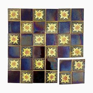 Art Deco Glazed Relief Tiles from S.A. Des Pavillions, 1930s, Set of 9