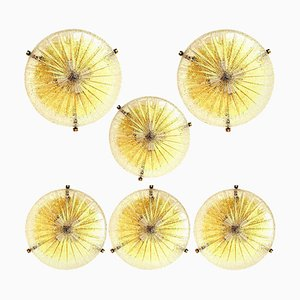 Thick Large Handmade Glass Brass Flush Mount or Wall Light from Hillebrand, 1960s