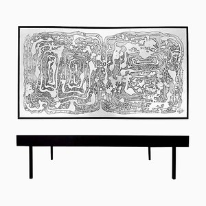 Vintage Aluminum Acid Etched Coffee Table by Bernhard Rohne, 1970s