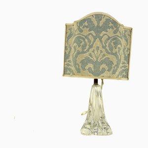Lampada in cristallo con paralume in stoffa