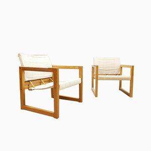 Mid-Century Diana Leinen Safari Stühle von Karin Mobring für Ikea, 2er Set