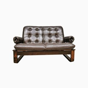 Mid-Century Vintage 2-Seater Brown Leather Sofa from Coja