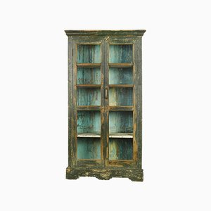 Glass Cabinet in Green Wood