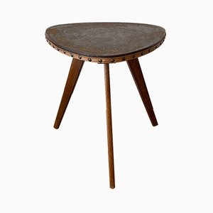 Mid-Century Flower Stool with Leather Cover, 1950s