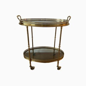 Neoclassical Serving Trolley in Brass with Glass Plates