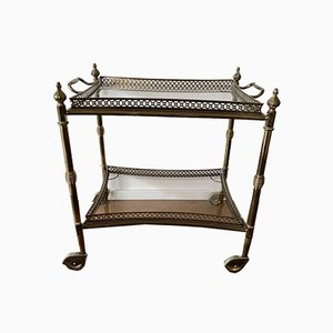 Neoclassical Brass Trolley with Glass Plates