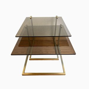 Golden Side Table or Flower Stand with 2 Glass Plates, 1970s