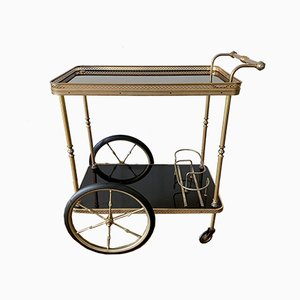 Neoclassical Brass Bar Trolley with Black Glass Trays