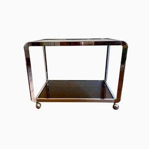 Italian Bar Cart with Silver Frame on Wheels