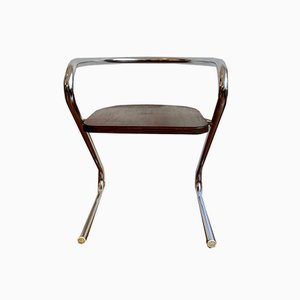 Cantilever Chair with Silver Frame and Wooden Seat