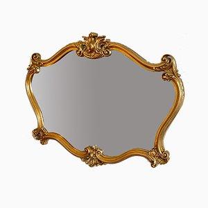 Golden Wall Mirror in Wood, 1950s