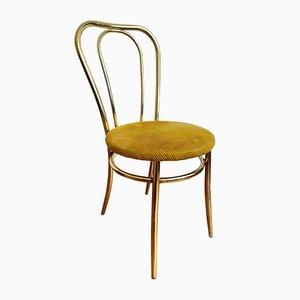 Goldener Stuhl mit Gelbem Stoffkissen