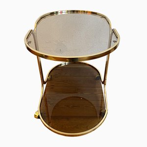 Living Room Table with Golden Brass Frame and Tinted Glass Plates on Wheels, 1970s