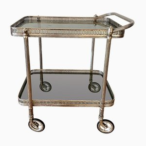 Silver-Plated Bar Cart with Two Glass Plates, 1970s