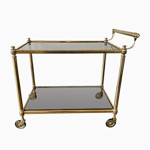 Brass Bar Trolley with Glass Trays, 1950s