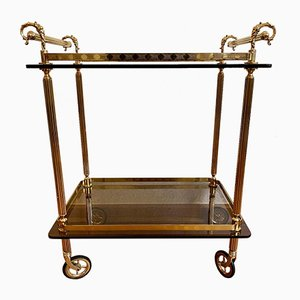 Golden Bar Cart with Glass Trays, 1970s