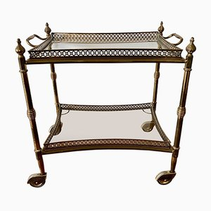 French Neoclassical Brass Bar Cart with Removable Tray