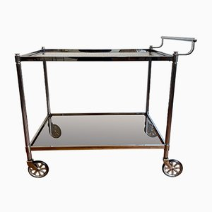 Bar Cart with a Silver Brass Frame on Rubber-Tired Wheels