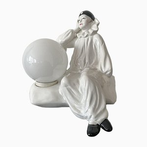 Large Harlequin Clown Pierrot Porcelain Table Lamp, 1950s