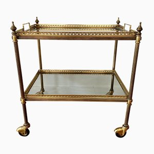 Neoclassical Tea Trolley in Brass with Glass Plates