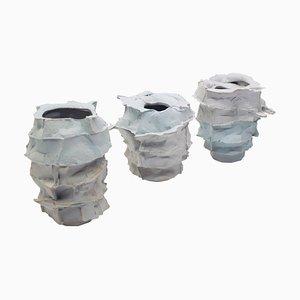 Hand Sculpted Porcelain Vases by Monika Patuszyńska, Set of 3