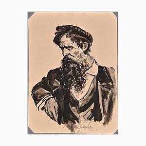 Vincenzo Groan, Pensive Portrait, Ink, Late 19th Century