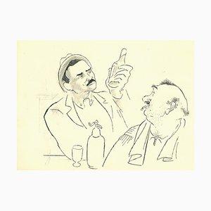 Adolf Reinhold Hallman, Drinkers in Bar, China Ink Drawing, 1956