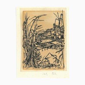 Renzo Vespignani, Landscape, China Tuschezeichnung, 1949