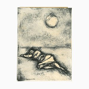 Renzo Vespignani, The Woman Under a Full Moon, China Ink Drawing, 1953