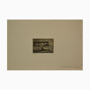 Giuseppe Viviani, Horse and Stable in Twilight, Etching, Late 20th Century