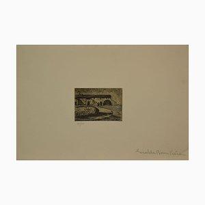 Giuseppe Viviani, Pferd und Stall in der Dämmerung, Radierung, spätes 20. Jahrhundert
