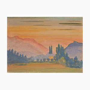 Jean-Raymond Delpech, Sunset in Mountain, Aquarelle, 1943