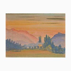 Jean-Raymond Delpech, Sunset in Mountain, Watercolor, 1943