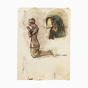 Unknown, Figure Studies, Pencil and Watercolor, 20th Century